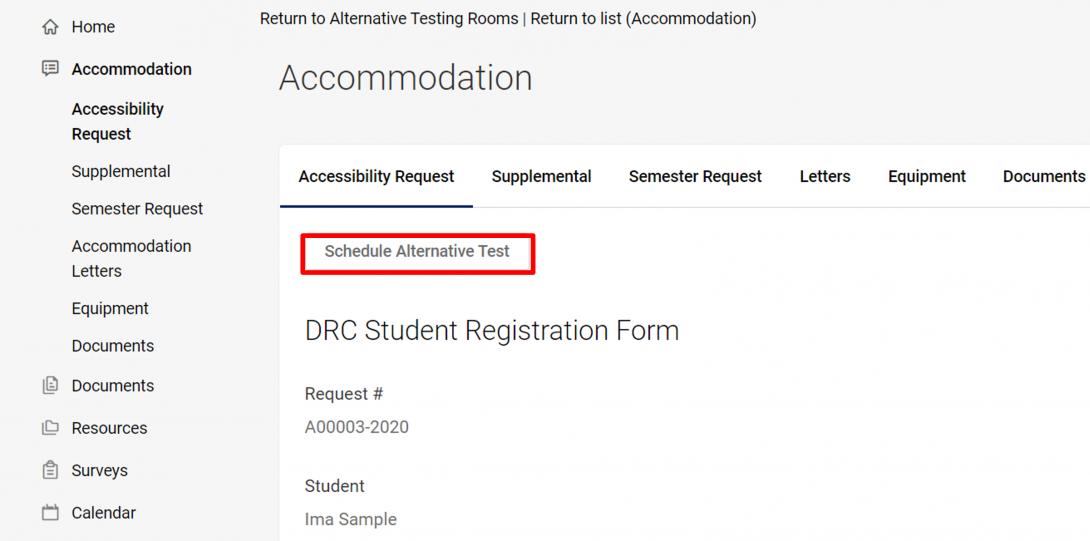 """4. Click """"Schedule Alternative Test"""""""